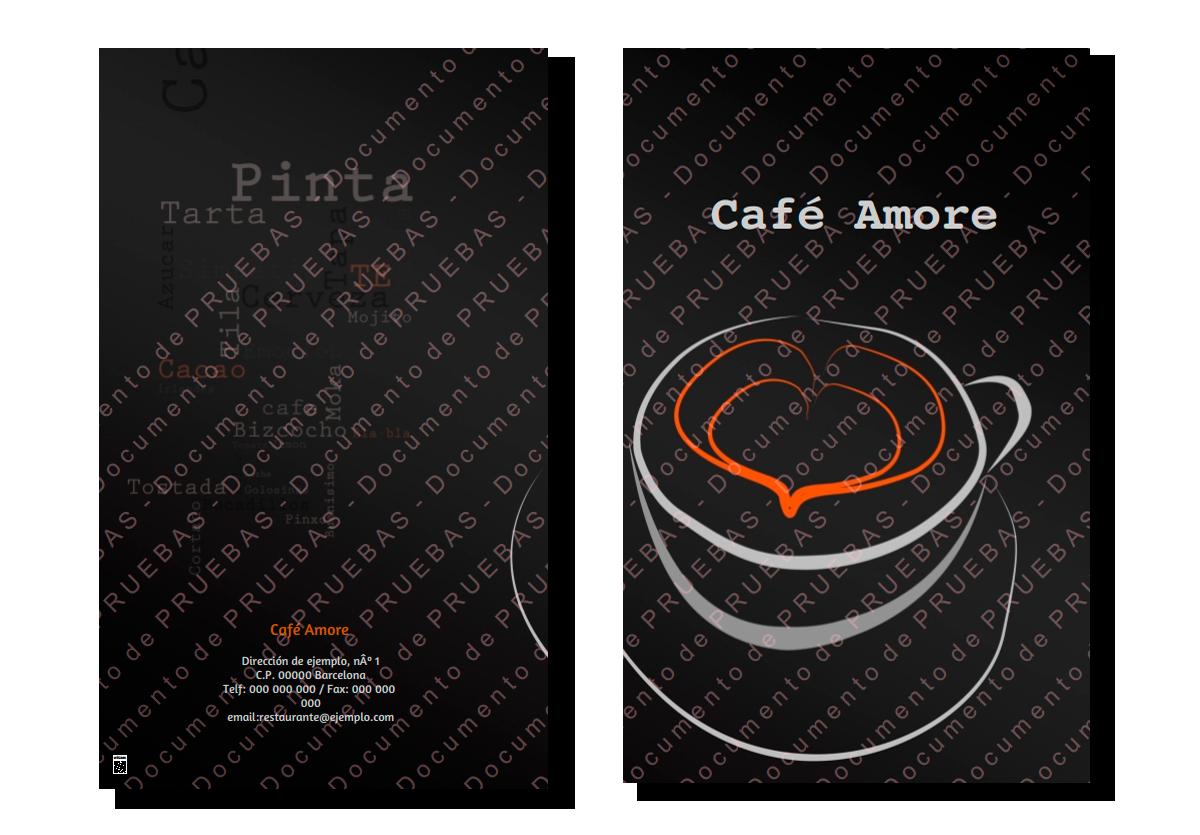 Carta menú cafetería