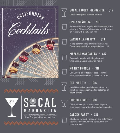 carta menu coctel