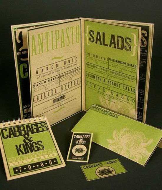 carta menú de ensalada